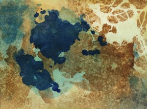 Blue brown and white hand painted background with texture