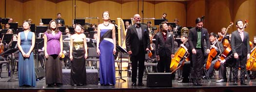 "Volti singers take a bow after performing Berio's ""Sinfonia"" with the UC Davis Symphony. Cecilia Lam, Sharmila Guha Lash, Yuhi Aizawa Combatti, Celeste Winant, Jeff Bennett, Sidney Chen, Jeff Wang and Julian Kusnadi, January 2015"