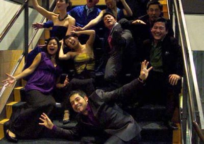 "After singing Berio's demanding ""Sinfonia,"" Volti singers goof off with Maestro Christian Baldini at UC Davis Mondavi Center, January 2015"