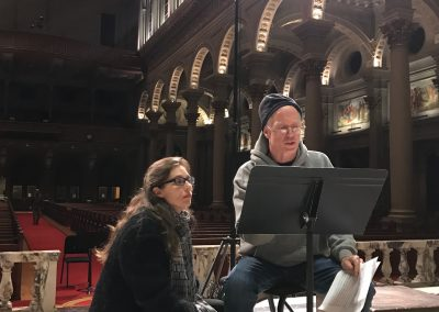 "Bob Geary consults with composer Zibuokle Martinaityte, while recording her ""The Blue of Distance"" at St. Ignatius Church, San Francisco, March 2017"