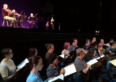 "Rehearsing Terry Riley's ""Sun Rings"" with the Kronos Quartet, Zellerbach Hall, Berkeley, 2016"