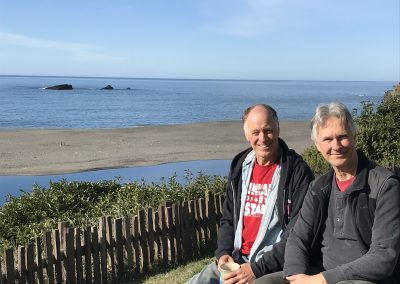 Bob Geary and Mark Winges, New Year's Day 2018, after breakfast in Gualala