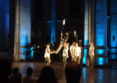 """""""Path of Miracles,"""" Movement 4, Grace Cathedral, February 2018 Volti singer Sidney Chen being carried by ODC Dancers"""