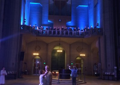 """Path of Miracles,"" movement 3, February 2018 Volti singers in the gallery of Grace Cathedral; ODC Dancers in the labyrinth below with Robert Geary, conductor."